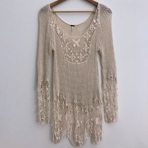Free People Cream Crotchet & Lace Pullover Tunic